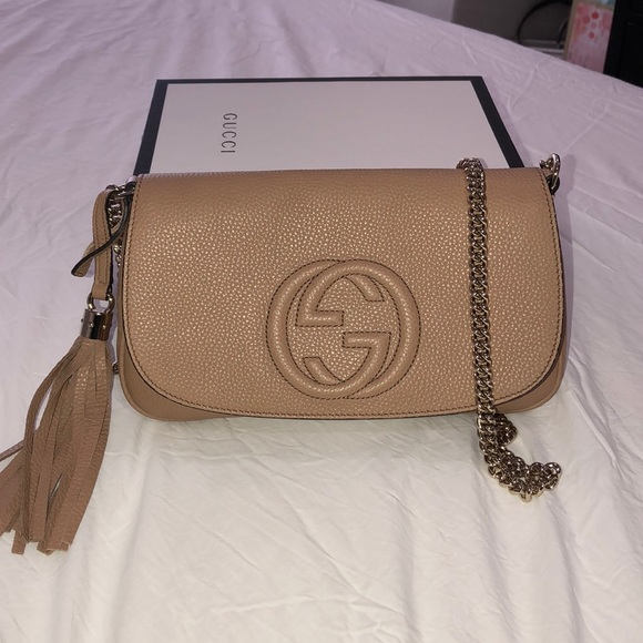 factory price top-rated professional new york Gucci Soho chain leather crossbody bag in tan